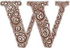 Vector initial letter in abstract floral ornament. Alphabet ornament. The letter W is brown color Stock Photo