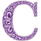 Vector initial letter in abstract floral ornament. Alphabet ornament. The letter C is violet color Royalty Free Stock Photos