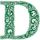 Vector initial letter in abstract floral ornament. Alphabet ornament. The letter D is green color Stock Images