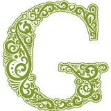 Vector initial letter in abstract floral ornament. Alphabet ornament. The letter G is green color Stock Photo