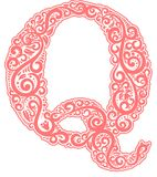 Vector initial letter in abstract floral ornament. Alphabet ornament. The letter Q is pink color Royalty Free Stock Image