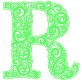 Vector initial letter in abstract floral ornament. Alphabet ornament. The letter R is green color Stock Photos