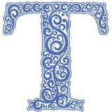 Vector initial letter in abstract floral ornament. Alphabet ornament. The letter T is blue color Stock Image