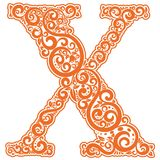 Vector initial letter in abstract floral ornament. Alphabet ornament. The letter X is orange color Stock Image