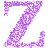 Vector initial letter in abstract floral ornament. Alphabet ornament. The letter Z is violet color Stock Image