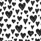 Vector ink background with hearts. Vector ink pen background with hearts, grunge seamless hand drawn pattern on white background Royalty Free Stock Photo