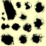 Vector ink brush stains set Stock Photos