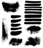 Vector ink brush stains set. Set of 18 vector brush strokes and stains Royalty Free Stock Image