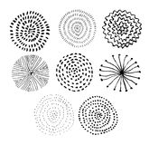 Vector ink circle textures. Abstract fireworks. Collection of hand drawn monochrome textures. Royalty Free Stock Photography