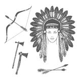 Vector ink ethnic set with arrows, bows, tomahawks and native american indian chief headdress. Royalty Free Stock Images
