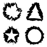 Vector ink frames in form of maple leave, pine tree, star and circle. White banners on black ink strokes Stock Photos
