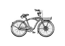 Illustration of Cruiser bicycle. Vector ink hand drawn illustration of Cruiser bicycle in vintage engraved style royalty free illustration