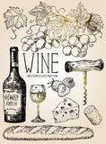 Vector ink hand drawn style red wine set. Vector ink hand drawn style illustration of red wine objects for menu, recipe. Bottle of wine, glass of wine, bunch of Stock Image