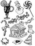 Vector ink hand drawn style merry christmas sweets set Stock Photos