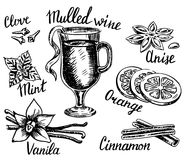 Vector ink hand drawn style mulled wine set stock illustration