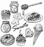 Vector ink hand drawn style sweets set Stock Photos