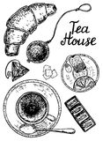 Vector ink hand drawn style tea house set Stock Photo