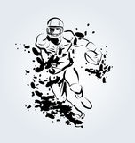 Vector ink illustration of an American football player Stock Photos