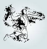 Vector ink illustration of basketball player Royalty Free Stock Photo