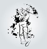 Vector ink illustration of golfer Royalty Free Stock Photo