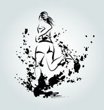 Vector ink illustration of a running woman Royalty Free Stock Photography