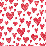 Vector ink pen background with red hearts. Grunge seamless hand drawn pattern on white background Royalty Free Stock Image