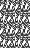 Vector  Ink Seamless Black And White Hand Painted Line Concentric Rhombus Shape Pattern Abstract Background. Stock Photo