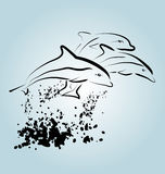 Vector ink sketch of dolphins Royalty Free Stock Photography