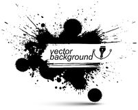 Vector ink splash monochrome seamless pattern with rounded overl Stock Photography