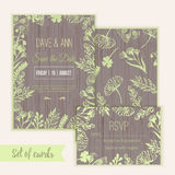Vector ink watercolor save the date card and rsvp. In rustic style with leaves and flowers. EPS10 Stock Photos
