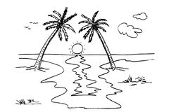 Hand draw sketch beach with coconut tree, sun, cloud and grass. Vector ihand draw sketch beach with coconut tree, sun, cloud and grass Stock Illustration