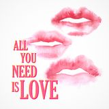 Vector inscription  All You need is Love poster Royalty Free Stock Image