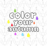 Vector inscription color your autumn on  background of black and white with colored umbrellas drops Stock Images