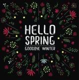 Vector inscription hello spring goodbye winter on black background. Vector inscription hello spring on black background Royalty Free Stock Image