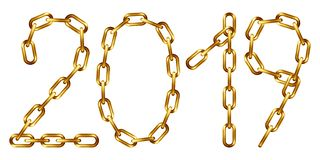 Vector 2019 inscription made from golden chain. Isolated on white vector illustration