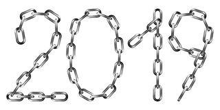 Vector 2019 inscription made from gray metal chain. Isolated on white vector illustration