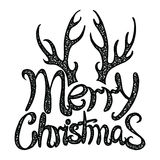 Vector inscription Merry Christmas. Cover title. Drawing by hand. Lettering. The words. Letters. Capital letters. Doodle royalty free stock images