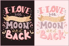 Vector inscriptions I love you to the moon and back in pink and purple colors. Illustration on the dark and light backgrounds for. Valentine`s Day, prints royalty free illustration