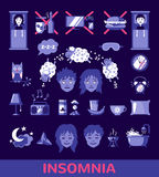Vector insomnia icons in flat style. Set of sleep and insomnia icons in flat style.  objects. Symbols  for infographics or web use. Vector insomnia concept Royalty Free Stock Photos