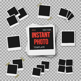 Vector Instant Photo. Blank Vintage Photo Frame Mockup  Royalty Free Stock Photography