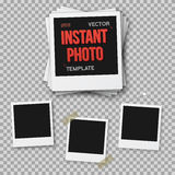 Vector Instant Photo. Blank Vintage Photo Frame Mockup Isolated Stock Photography