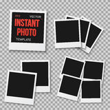 Vector Instant Photo. Blank Vintage Photo Frame Mockup Isolated Royalty Free Stock Images