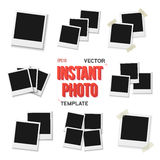 Vector Instant Photo. Blank Vintage Photo Frame Mockup Isolated Royalty Free Stock Photos