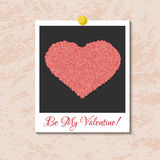 Vector instant photo card with heart from pink roses Royalty Free Stock Photography