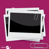 Vector instant photo frame with paperclip Stock Image