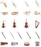 Vector Instruments of the Orchestra. Set of detailed classic music instruments Royalty Free Stock Photography