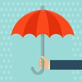 Vector insurance agent holding umbrella. Concept in flat style Royalty Free Stock Photos