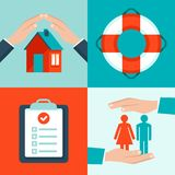 Vector insurance concepts in flat style Stock Images