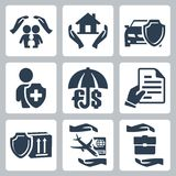Vector insurance icons set Royalty Free Stock Photography