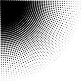 Vector intensive diminishing halftone dots in direction of rounding Royalty Free Stock Image
